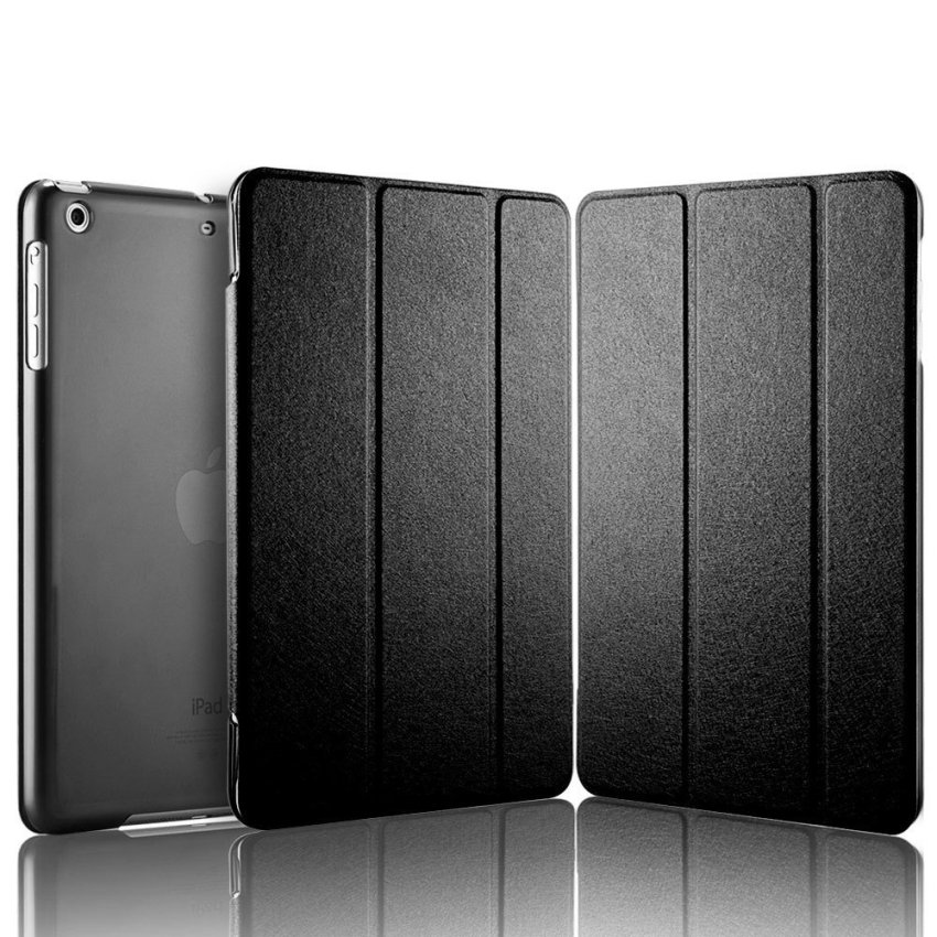 Luxury Magnetic Slim Smart Wake Leather Transparent Back Case Cover for Apple iPad mini 1 2 3 Black(INTL)