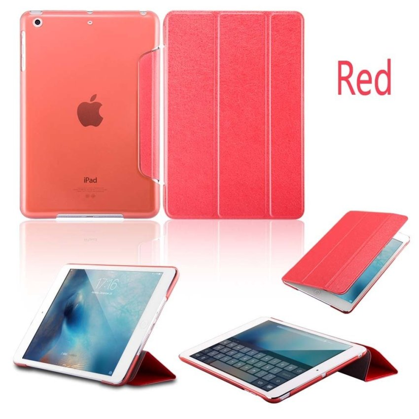Luxury Magnetic Slim Smart Wake Leather Transparent Back Case Cover for Apple iPad mini 1 2 3 Red(INTL)