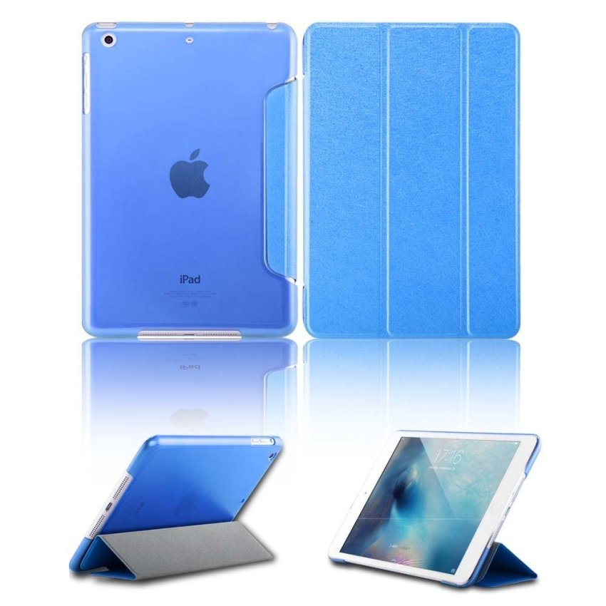 Luxury Magnetic Slim Smart Wake Leather Transparent Back Case Cover for Apple iPad mini 1 2 3 SkyBlue(INTL)
