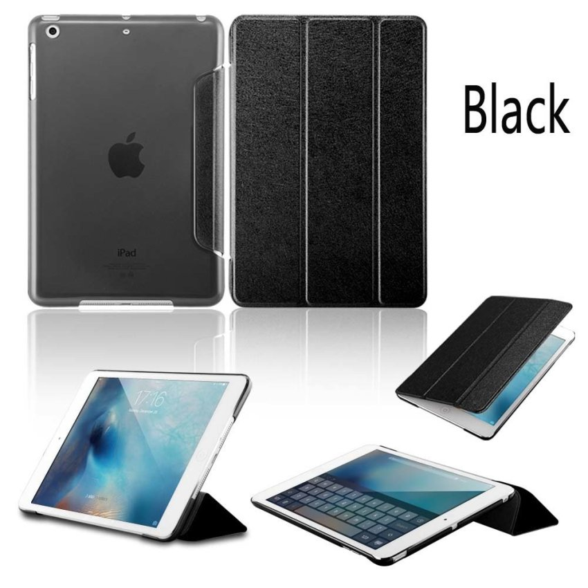 Luxury Magnetic Slim Smart Wake Leather Transparent Back Case Cover for Apple iPad mini 4 Black(INTL)