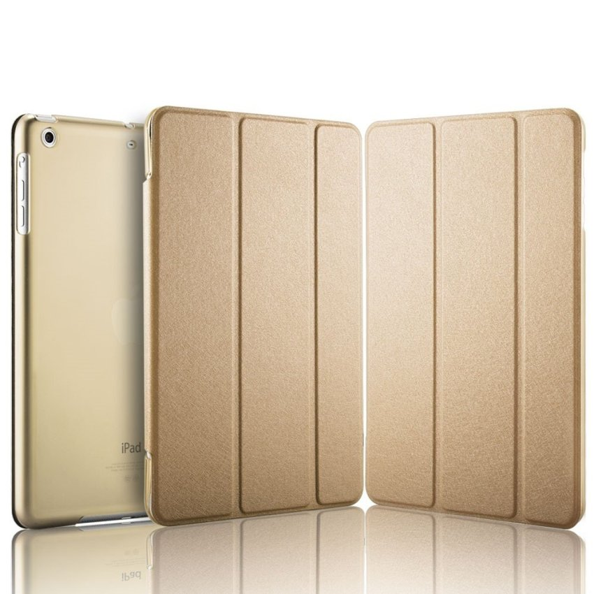 Luxury Magnetic Slim Smart Wake Leather Transparent Back Case Cover for Apple iPad mini 4 Gold(INTL)