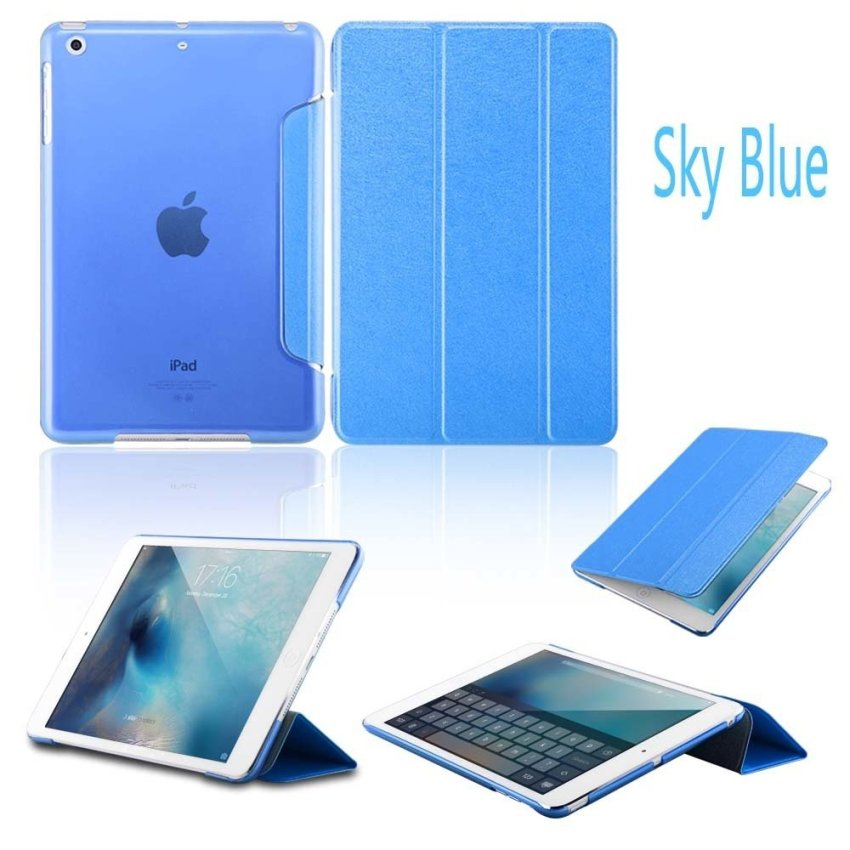 Luxury Magnetic Slim Smart Wake Leather Transparent Back Case Cover for Apple iPad mini 4 SkyBlue(INTL)