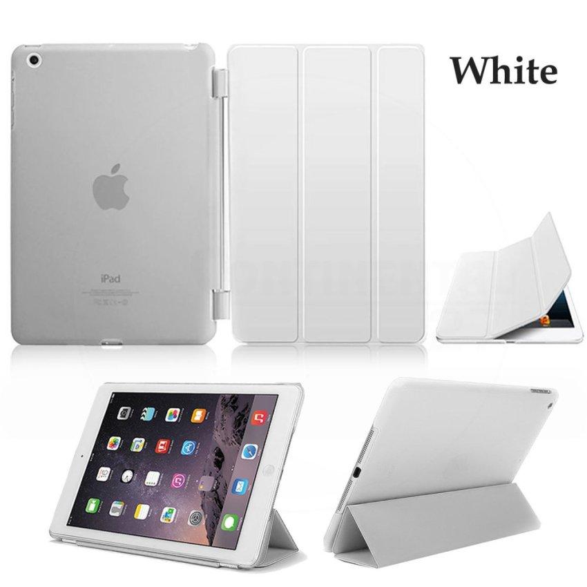 Luxury Magnetic Slim Smart Wake Leather Transparent Back Case Cover for Apple iPad mini 4 White(INTL)
