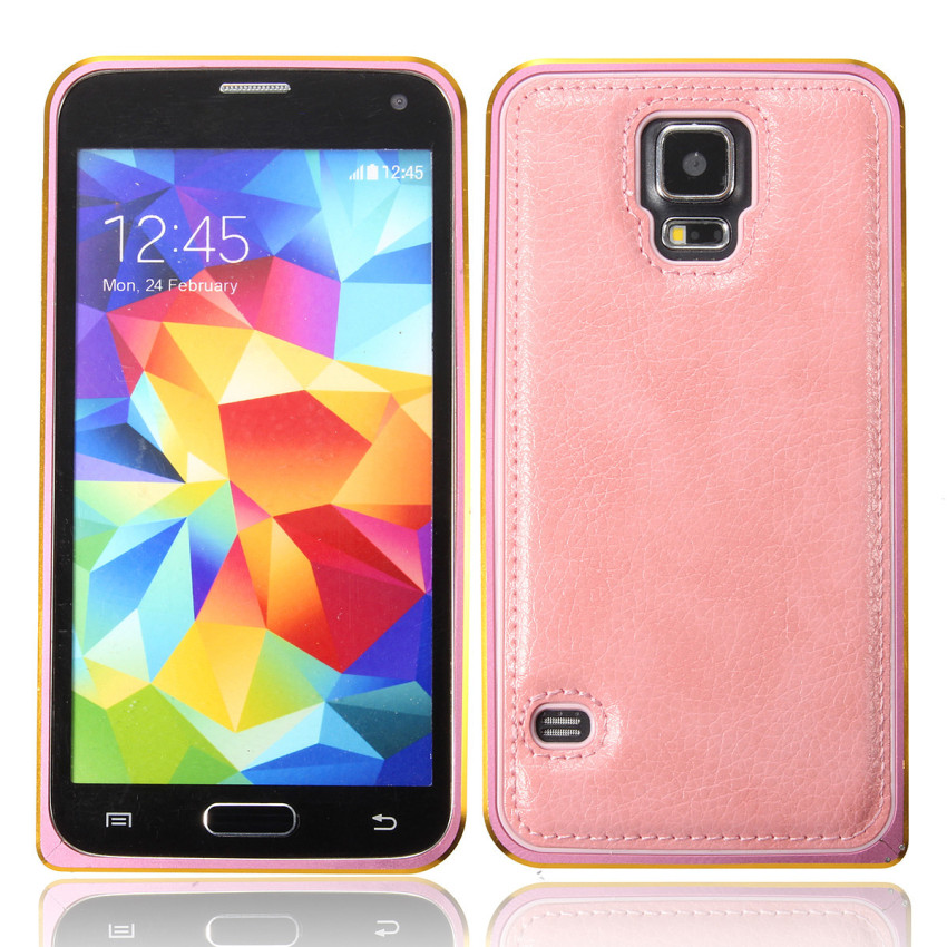 Luxury Metal Alu Frame PU Leather Durable Back Case for Samsung Galaxy S5 (Pink) (Intl)