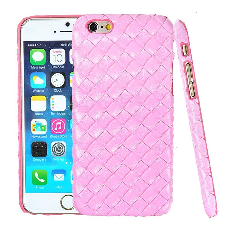 Luxury PU Leather Retro Elegant Woven Pattern Skin Case Phone Bag Pouch for iPhone 6/6s pink (Intl)