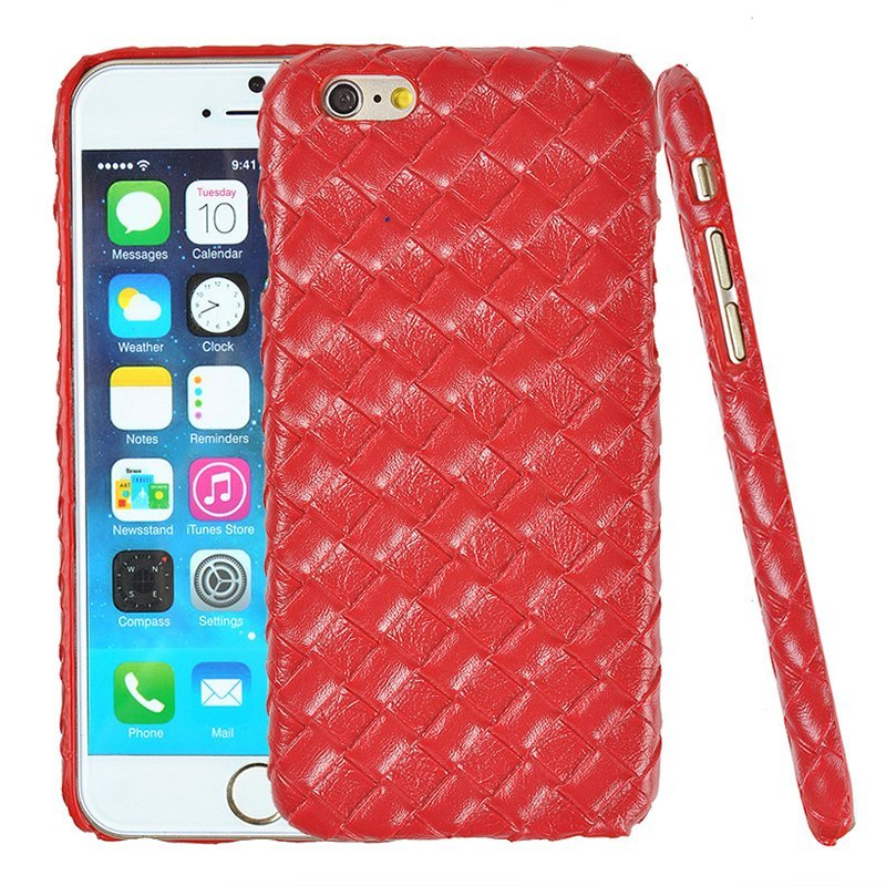 Luxury PU Leather Retro Elegant Woven Pattern Skin Case Phone Bag Pouch for iPhone 6/6s red (Intl)