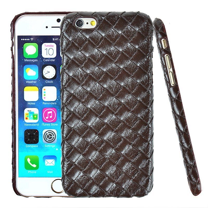 Luxury PU Leather Retro Elegant Woven Pattern Skin Case Phone Bag Pouch for iPhone 6 plus/6s plus Brown (Intl)