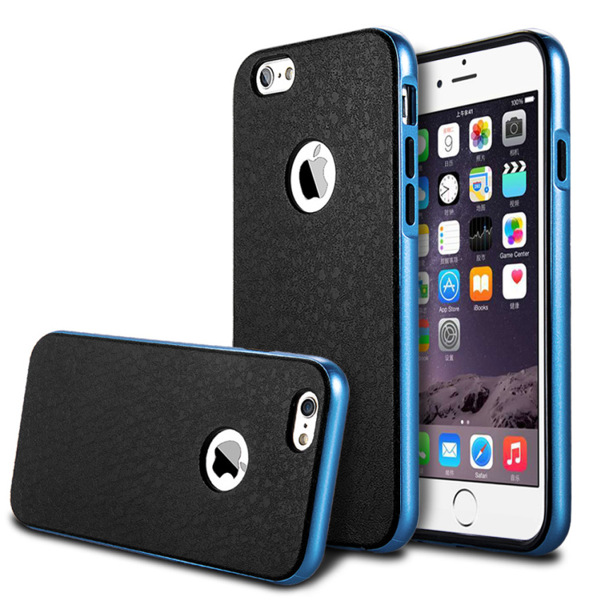 Luxury Silicone + Hard PC Hybrid Metal Frame Slim Logo Armor Case for iPhone 6 Plus SkyBlue(INTL)