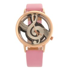 M388 Fashion Women's Ladies Hollow Musical Note Style Dial PU Band Quartz Wrist Watch (Pink) (Intl)