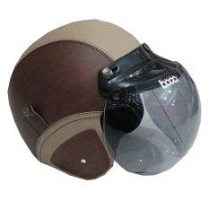 Matrix Helm - Helm Bogo Retro Coklat Krem