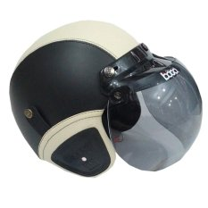 Matrix Helm - Helm Bogo Retro Hitam Light Krem