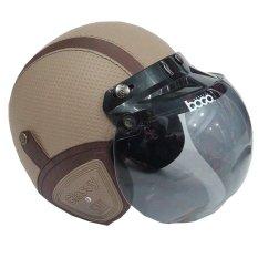 Matrix Helm - Helm Bogo Retro Krem Garis Coklat