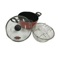 Maxim XTRA 22 cm Glass Covered Deep Fryer with Strainer - 2 in 1 Function Deep Fryer & Casserole - Penggorengan dan Kaserol Teflon