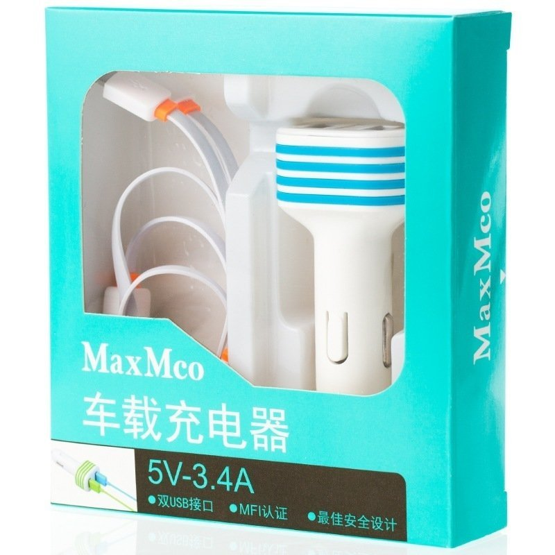 MaxMco U-3.4 Car Charger with USB Charging Cable White
