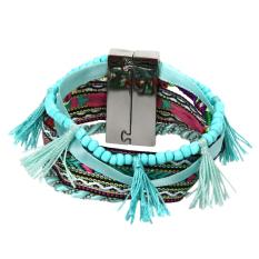 MEGA Bohemian Women Braided Tassel Bracelet Lakeblue - Intl