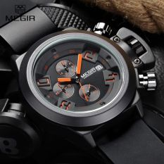 MEGIR New Brand Silicone Band Analog Chronograph Stop Watch Military Army Styligh Mens Watches Top Brand Luxury Men Male Clock (Black)