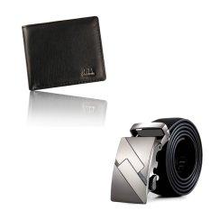 Men Bifold Business Leather Wallet ID Credit Card Holder Purse Pockets AndAutomatic Buckle Belt Set Black (Intl)