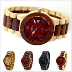 Men Casual Dress Watch Bewell Wooden Quartz Watch With Calendar Display Natural Sandal Wood Wrist Watch For Mens Gift Red / Beige