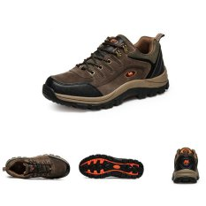 Men Hiking Shoes Non-Slip Waterproof Climbing Outdoor Running Footwear Brown (Intl)
