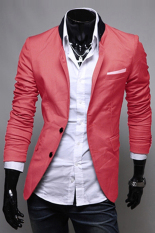 MEN Slim Fit Jacket Blazer Coat Shirt Stylish 3 Colors US Size XS S M L (Red) - Intl - Intl