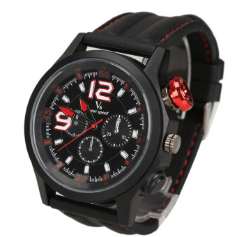 Men Sports Silicone Strap Quartz Dial Wrist Watch Black Case RedButton - Intl