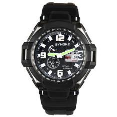 Men Waterproof Double Digital Quartz LED Sports Watch Black Free Shipping