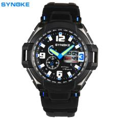 Men Waterproof Double Digital Quartz LED Sports Watch Blue Free Shipping
