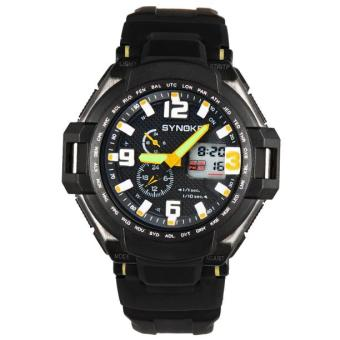 Men Waterproof Double Digital Quartz LED Sports Watch Yellow Free Shipping