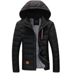 Men Winter Jacket Casual Outdoor Men's Coats Cotton Padded Brand New Man Overcoat Slim Men Down Parka Warm Coat (Black) (Intl)