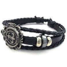 Men Women Leather Bracelet Fleur De Lis Charm Bangle Fit 7-9 Inch Black (Intl)