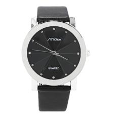 Men's Analog Quartz Black Synthetic Leather Strap Sport Quartz Watch (Black)