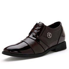 Men's Casual Business Style Height Increasing Elevator Genuine Leather Shoes (Brown) (Intl)