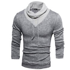 Men's Fashion Casual Solid Color High-necked Sweater Knitting Light Grey (Intl)