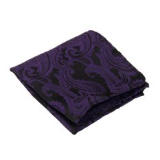 Mens Jacquard Neck Tie Hanky Cufflinks Set Wedding Neckwear Dark Purple - INTL