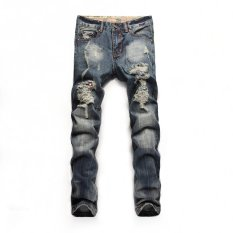 Mens Jeans Brand Destroyed Hole Jeans Straight Men's Jeans Slim Frayed Denim Jeans 937 (Blue) (Intl)