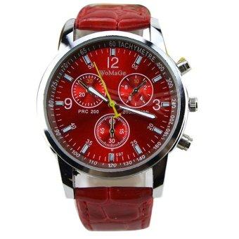 Men's Round Dial Faux Leather Strap Quartz Wrist Watch Red