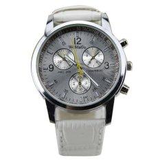 Men's Round Dial Faux Leather Strap Quartz Wrist Watch White