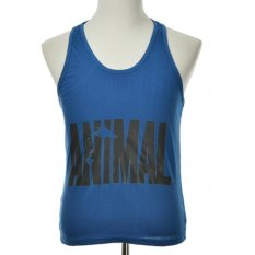 Men's Sports Letter Printed Gym Tank Tops Cotton Tight Sleeveless Fitness Vest- Intl