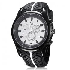 Men's White Dial Tire Silicone Band Sport Casual Watch