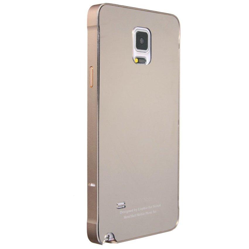 Metal Frame Mirror Hard Back Case for Samsung S5 S6/S6 Edge/Note 4/Alpha/iPhone (Golden) (Intl)