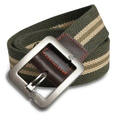 Military Style Unisex Single Grommet Adjustable Canvas Belt Web Belt Woven Belt Army Green Stripes 120cm (Export) - Intl