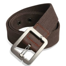 Military Style Unisex Single Grommet Adjustable Canvas Belt Web Belt Woven Belt Coffee 115cm (Export) - Intl
