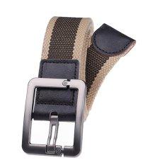 Military Style Unisex Single Grommet Adjustable Canvas Belt Web Belt Woven Belt Khaki Army Green 120cm (Export) - Intl