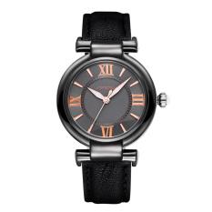 Mingjue Brand SINOBI Luxury Leather Women Watches Ladies Fashion Gold Dial Quartz Dress Watch Roman Number Casual Wristwatch (Black Black Black)