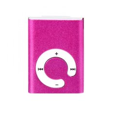 Mini Clip Metal USB MP3 Player Support Micro SD TF Card Music Media Pink Free Shipping