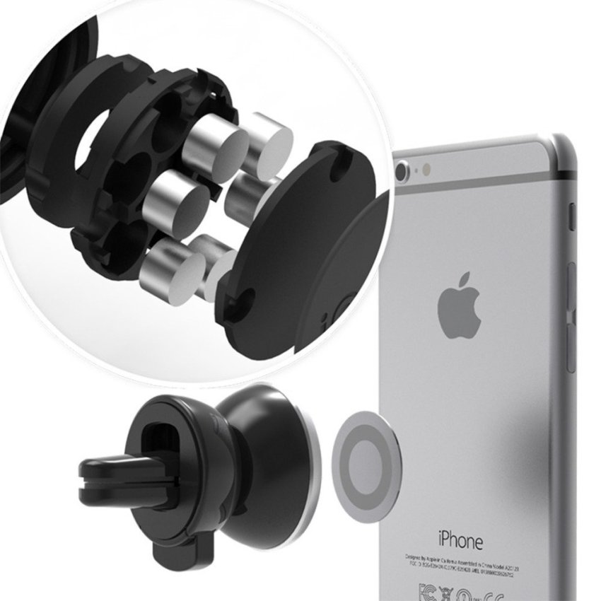 Mini Magnetic Universal Car Air Vent Outlet Mount Phone Holder for iPhone Samsung (Silver) (Intl)