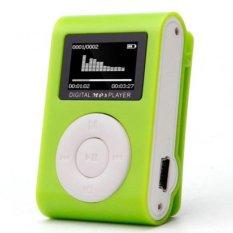 Mini USB Clip MP3 Player LCD Screen Support 32GB Micro SD TF Card Green Free Shipping