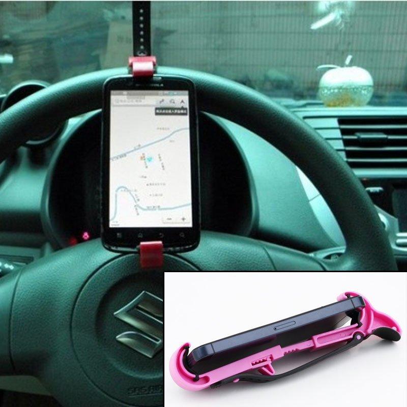 Mobile Phone Holder/Mount/Clip On Car Steering Wheel Pink(INTL)