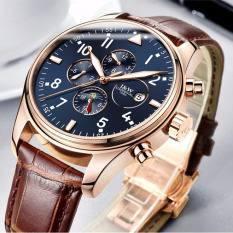 Moob Design Trends Silver Case Gun Color Dial Switzerland Carnival Famous Brand Watch Luxury Men Automatic Wrist Watch Leather Strap