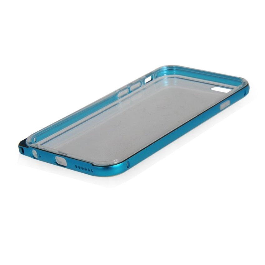 MOONCASE Case Cover Aluminum Bumper Frame + TPU Silicone Slim Back Phone Case Cover for iPhone 6 Blue